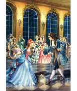 CINDERELLA and Prince at the ball by Zorina Baldescu Russian Modern Postcard - £1.75 GBP