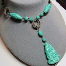 "Vintage Gablonz Czechoslovakia Czech Peking Glass Exotic Dangle 17"" Necklace - $98.01"