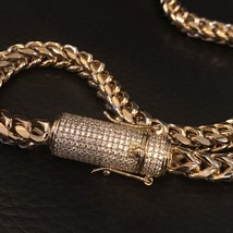 "Men Franco Link Chain 14k Gold Plated 8mm *1.5ct Diamond Clasp* 30"" 177 ... - $69.29"