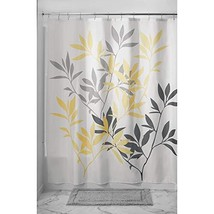 InterDesign Leaves Fabric Shower Curtain, (Standard|Gray and Yellow|Set ... - $20.71