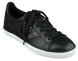 Women's Guess MARLINE Fashion Sneakers Lace-Up Rhinestones Leather Black... - $54.44