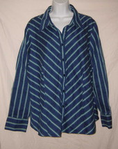 1c47eee2 Lane Bryant Shirt Blue Striped Long Sleeve Button Front Blouse Plus Size 18/ 20 -