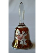 Westmoreland Cranberry Hand Painted Rose Glass Bell Signed D Green 1975 - $19.80