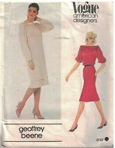 2747 UNCUT Vogue Sewing Pattern Misses Loose Fitting Pullover Straight Dress OOP - $9.99