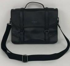 Ted Baker Men's Black Leather Messenger Business Briefcase Laptop Bag - $197.99