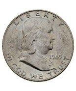 1949-D 50C Franklin Half Dollar in Choice BU Condition with FBL, Mint Lu... - £46.53 GBP
