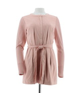 H Halston Faux Suede Jacket Sweater Knit Slvs Rose Blush 18W NEW A281814 - $42.55
