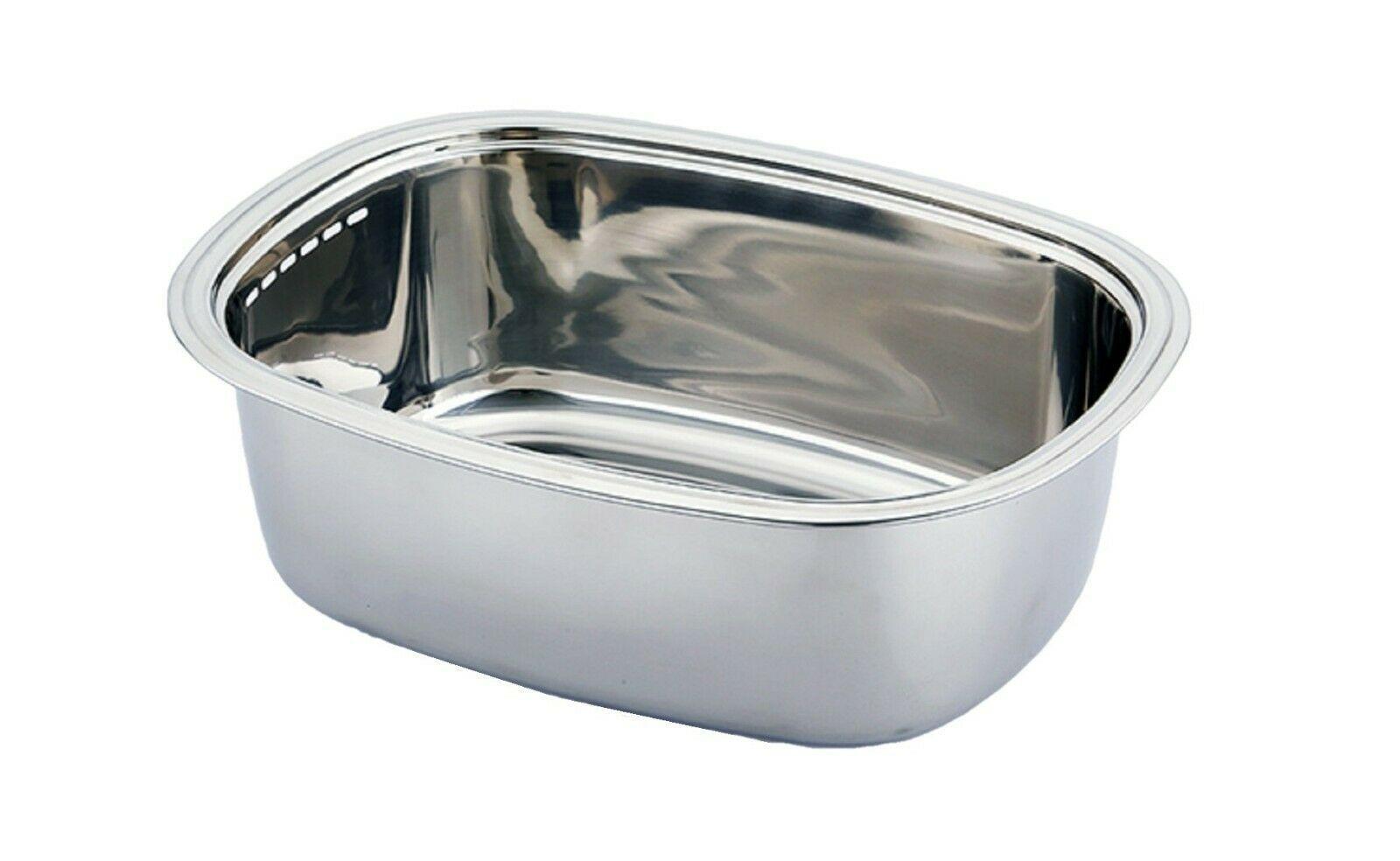 Kitchen Flower Stainless Steel Basin Dishpan Dish Washing Bowl Basket Rectangle