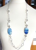 Collier Argent 925, Agate Bleu Larmée Ovale Grand ,Agate Blanc, Longue 9... - $205.85