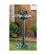 Verdigris Birdbath Shalllow Perches Lovely Leaf Sculpture Outdoor Patio ... - $32.57