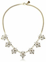 "USA Made 18"" Yochi Gold Plated Cubic Zirconia Crystal Dazzle Petal Necklace NWT"