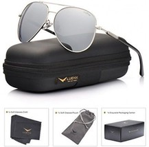 LUENX Aviator Sunglasses Mens Womens Polarized Mirror - Silver Lens Silver 60mm - $45.44