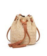 M.S Beach Solid String Mini Bucket Bags Female Summer Knitting Straw Swe... - £20.34 GBP