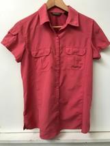 Eddie Bauer Womens Button Down Shirt Rose/ Melon Short Sleeve Pockets Si... - $18.95