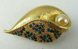 Vintage Gold Tone & Colored Rhinestone & Faux Pearl Leaf Brooch Pin Mark... - $19.00
