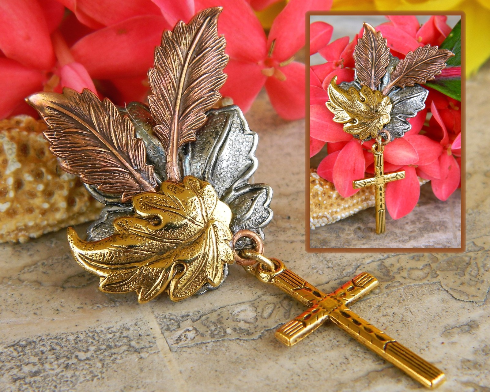Maple Oak Leaves Cross Brooch Pin Tri Color Textured Metal Figural image 4