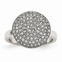 CHISEL BRAND STAINLESS STEEL POLISHED CIRCLE  RING WITH CRYSTALS -  SIZE 6 - $32.18