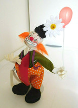 "1990 Tagged Annalee 8"" Colorful Happy Clown w/ Balloon & Daisy, Hang Tag - $14.99"