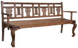 77'' Ornate Teak Wood Patio Garden Bench Porch Path Chair Outdoor Deck O... - $1,336.50
