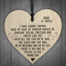 Maid Of Honour As Special As You Wooden Hanging Heart Plaque Wedding Gif... - $10.99