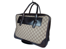 Auth GUCCI GG Pattern PVC Canvas Leather Browns Business Bag GS1995  - $389.00