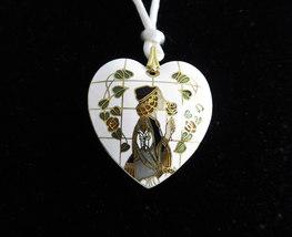 White Cloisonne Heart Necklace Art Nouveau Silk Cord Vintage 1970s Doubl... - $48.00