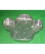 Vintage Shiny Pewter Cactus Shape Style Design Serving Platter Dish Tray  - $21.46