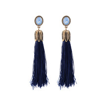 The Cats Pajama Midnight Blue Long Tassel Earrings - $40.00