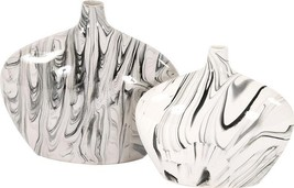 Vase HOWARD ELLIOTT Oblong Large White and Black Swirl - $189.00