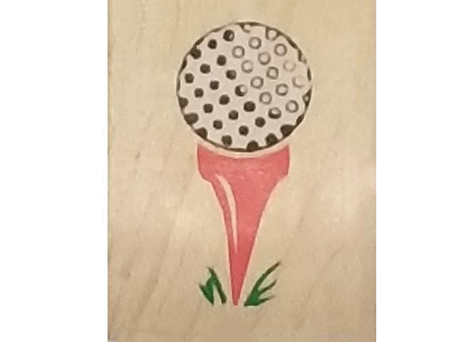 Rubber Stampede 1991 Golf Tee Off Rubber Stamp #Z-218-A