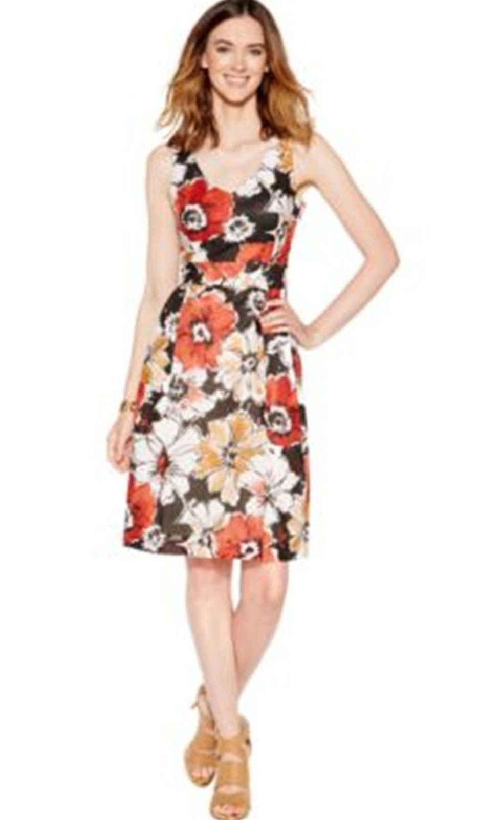 Primary image for AK Anne Klein Womens Multi V Neck Floral Print Flare Dress Size 2