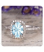 6x8mm Oval Cut Aquamarine 14k White Gold Over 925 Silver Promise Wedding... - $107.99
