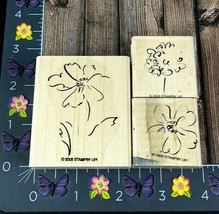 Stampin' Up! Sketched Flowers Tree Set Of Three Rubber Stamp 2005 Wood #H50 - $4.21