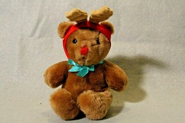 Dakin Vtg Christmas Brown Teddy Bear Stuffed Animal Plush Toy Antler Hat - $19.31