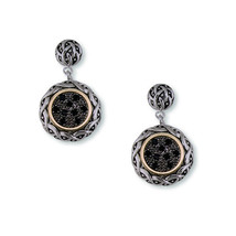 NEW -MICRO PAVE ANTIQUE BLACK CUBIC ZIRCONIA  DANGLE EARRINGS - $29.69