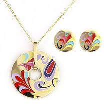 UNITED ELEGANCE Gold Tone Necklace With Colorful Designed Pendant & Earrings - $19.99