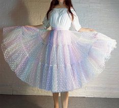 Women Girl Rainbow Long Tulle Skirt Polka Dot Rainbow Skirt Holiday Skirt Outfit image 3