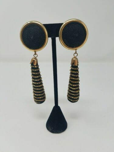 Primary image for Vtg 80's chunky clip-on earrings dangle fabric w/beads