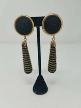 Vtg 80's chunky clip-on earrings dangle fabric w/beads - $14.85