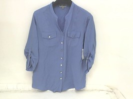JM Collection Womens Button Up Roll Sleeve Blouse Lakeview Blue Size 6 - $13.74