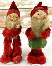 1950 Christmas Tomte Nisse Gnome Figures Chenille Paper Mache Hand Paint... - $29.07