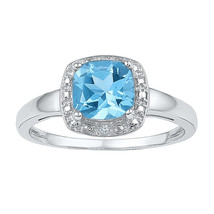 Sterling Silver Womens Princess Lab-Created Blue Topaz Solitaire Ring 1-... - £81.45 GBP