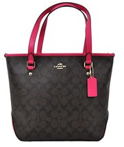 COACH Signature Top Zip Tote Brown/Pink Ruby - $201.99