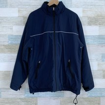 GAP Fleece Lined Parka Jacket Blue Full Zip Hooded Anorak Mens Size Medium - $45.53