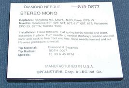PFANSTIEHL 813-DS77 PHONOGRAPH RECORD PLAYER NEEDLE for Sonotone 51T 52T 54T 60T image 3