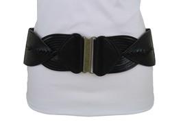 New Women Gold Buckle High Waist Hip Fashion Belt Black Braided Faux Leather S M - $12.69