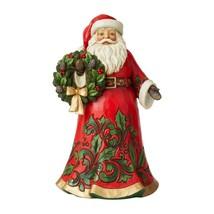 "Jim Shore Santa Holding Holly Wreath 12"" High Christmas Collectible Red Green"