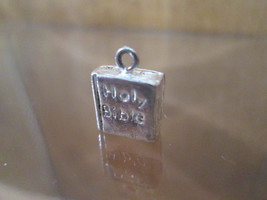 Sterling Silver Bracelet Charm HOLY BIBLE The Good Book, 1960's Marked S... - $54.45