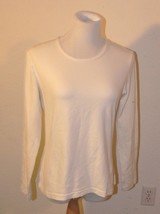 ANN TAYLOR White Knit Long Sleeve Shirt Womens Size M ek - $7.50