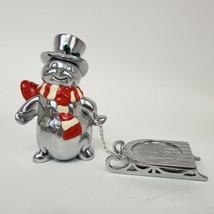 Lenox Yuletide Snowman Sleight Votive Candle Holder Christmas Silver ton... - $11.99